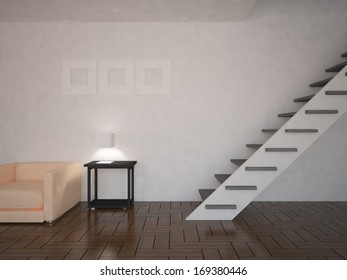 white interior of living room with a stairs