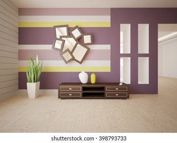 White interior of living room with violet wallpapers on a wall - 3d illustration