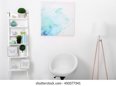 White interior with modern furniture, close up