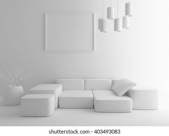 White interior with sofa.3d illustration