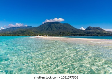 White Island Camiguin Philippines April 23, 2018 The beautiful sand bar known as White Island, and the volcanoes of Camiguin