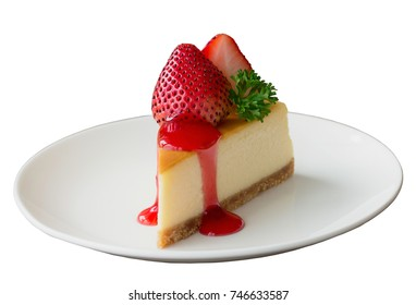 White isolated background with clipping paths New York cheesecake on white plate decorated strawberry,parsley and strawberry sauce. Homemade bakery concept.