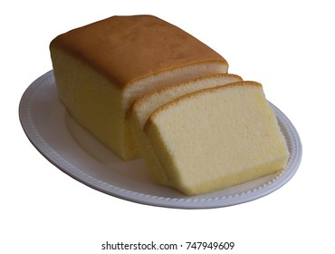 White isolated background with clipping paths slices of delicious butter cake or pound on white plate. Homemade bakery concept with copy space.