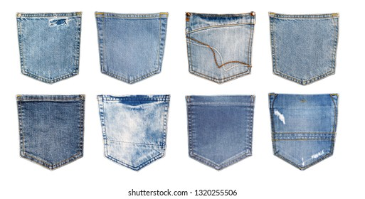 White isolated background with copy space of blue jeans back side pockets