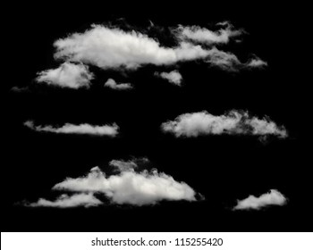 White isolated clouds. Cutout extracted clouds