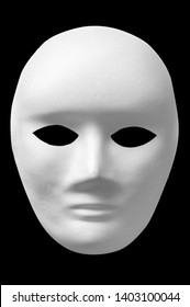 white isolated mask on black background with neutral facial expression