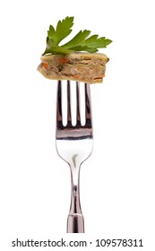 White isolated vegetarian swabian pocket on a fork