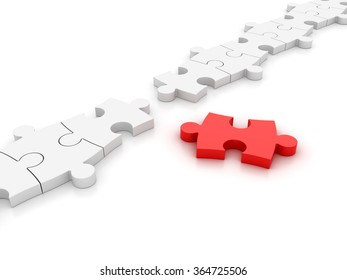 White Jigsaw pieces - One Red - High Quality 3D Render