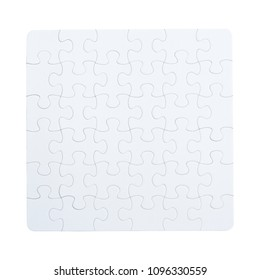 White jigsaw puzzle isolated on white background. This has clipping path.