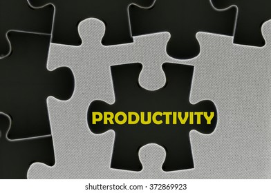 The white jigsaw puzzle written word  productivity