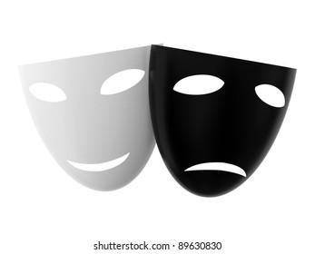 White joyful mask and black sorrowful mask isolated on white background