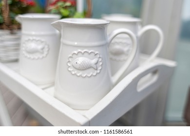 white jugs in rustic style