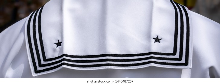 The white jumper of a US Navy sailor in Japan.