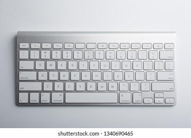 White keyboard isolated on white background.