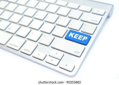 white keyboard with keep  button