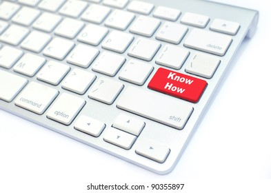 white keyboard with know how button