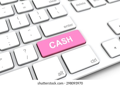 White keyboard with a pink button cash.