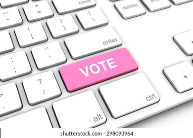 White keyboard with a pink button vote.