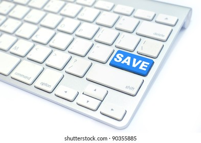 white keyboard with save  button