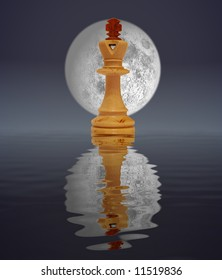 White king with moon, reflected in water
