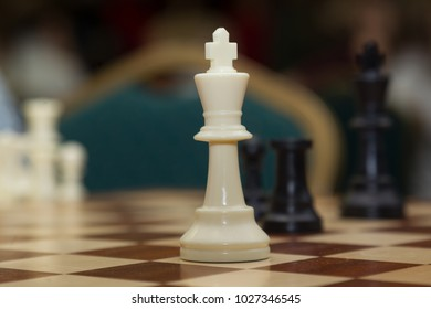 White king on a chessboard