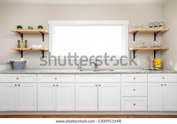White Kitchen Cabinets Granite Countertop Wooden Stock Photo Edit