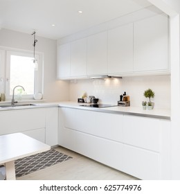 white kitchen interior counter top