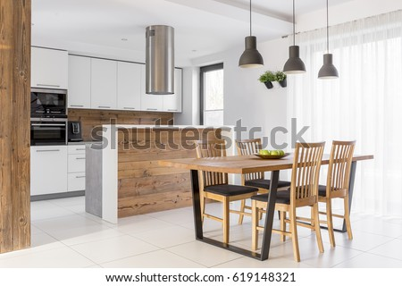 White Kitchen Island Table Chairs Stock Photo Edit Now 619148321