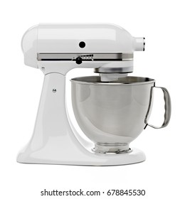 White kitchen or stand mixer with clipping path isolated on white background