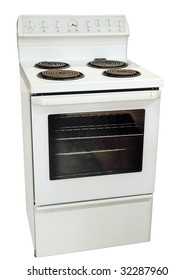 White Kitchen Stove isolated with clipping path.