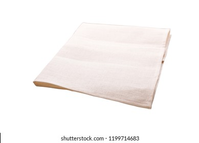 White kitchen towel isolated on white. Mock up for design. Top view.