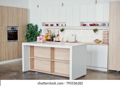 white kitchen with wooden details
