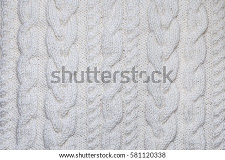 White Knitting Texture Aran Pattern Background Stock Photo Edit Now