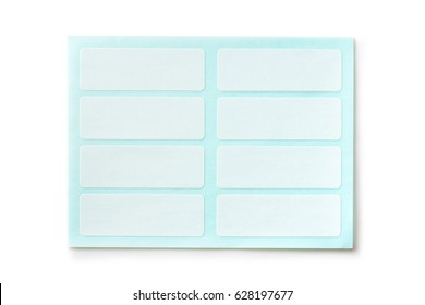 White labeling stickers with blue backing sheet.Isolated on white.