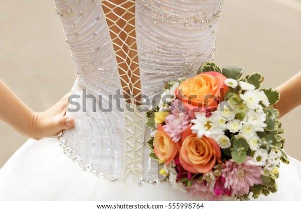 White Lace Corset Wedding Dress Bride Stock Photo Edit Now 555998764