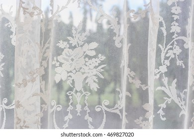 white lace curtains background