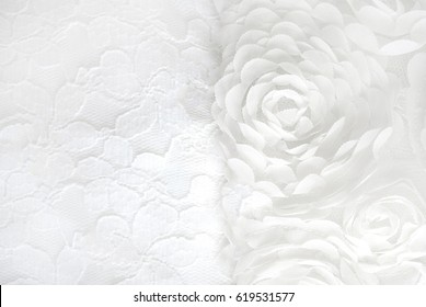 White lace with flowers,