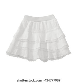 White lace skirt on white background with working path