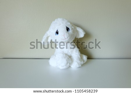White Lamb Stuffed Animal Stock Photo Edit Now 1105458239