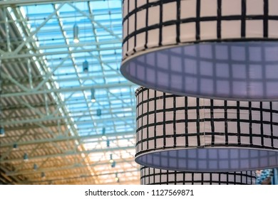 White lampshade in black cage fabric lampshade on cassette. colorful, decorative, electric, furniture, lighting, Lamp, lampshade, style, fabric abstract background hanging Lamp interior design