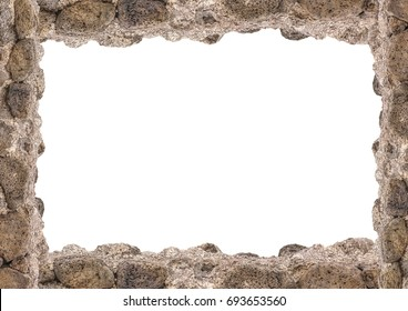 White landscape frame background with rock borders.