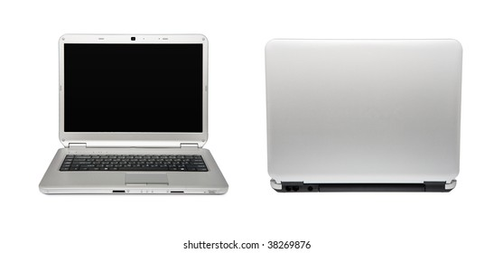 White laptop. Back and front views