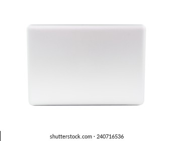 White Laptop with blank screen isolated on over white background