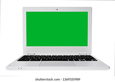 White laptop with chroma key wallpaper