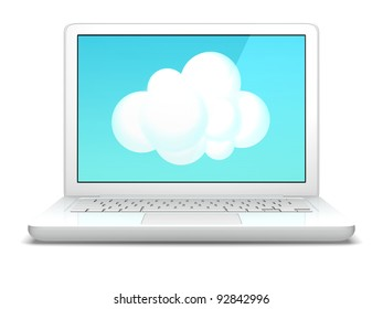 A white laptop computer with an illustrated cloud.