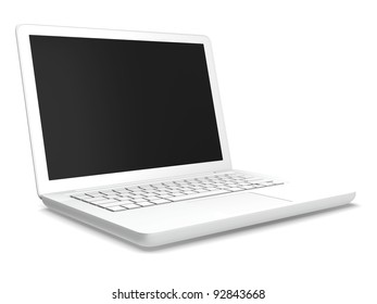 A white laptop isolated with white background.