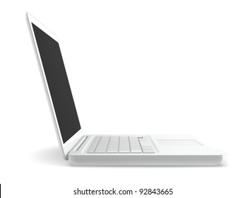 A white laptop isolated with white background.  Side view.