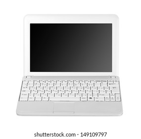 White laptop isolated on white background