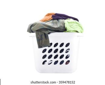 White laundry basket full of clothes