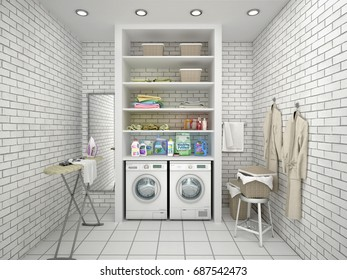 White laundry room with brick walls. 3d illustration